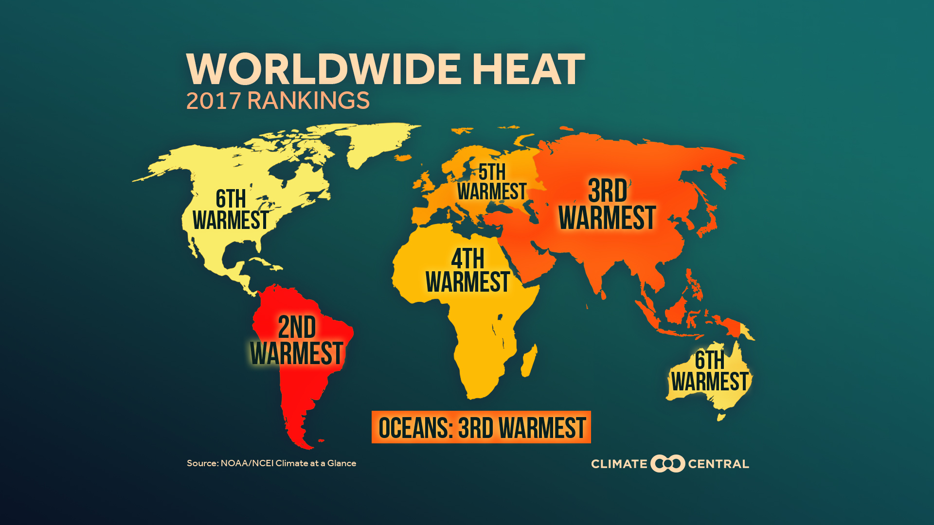 2017 Global Temp Review: Continental Heat Rankings   Climate Central
